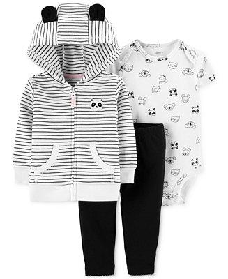 782a8f134 Carter's Baby Girls 3-Pc. Cotton Panda Hoodie, Printed Bodysuit ...