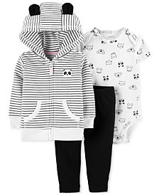 Carter's Baby Girls 3-Pc. Cotton Panda Hoodie, Printed Bodysuit & Pants Set