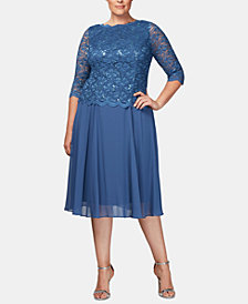 Alex Evenings Plus Size Sequined Lace A-Line Dress