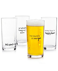 CLOSEOUT! Words Pint Glasses, Set of 4, Created for Macy's