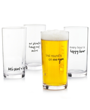 Closeout! The Cellar Words Pint Glasses, Set of 4, Created for Macy's