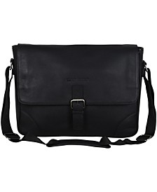 "Karino Leather Crossbody 15"" Computer Travel Messenger Bag"