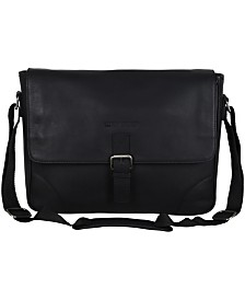 "Ben Sherman Karino Leather Crossbody 15"" Computer Travel Messenger Bag"
