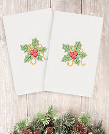 Linum Home Christmas Holly Bunch 100% Turkish Cotton 2-Pc. Hand Towel Set