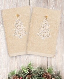 Christmas Tree Scroll 100% Turkish Cotton 2-Pc. Hand Towel Set