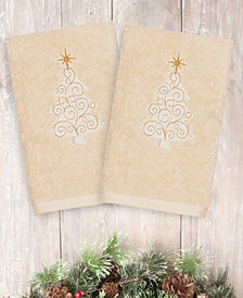 Linum Home Textiles Christmas Scroll Tree - Embroidered Luxury 100% Turkish Cotton Hand Towels Set of 2