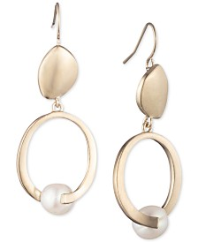Carolee Gold-Tone & Freshwater Pearl (8mm) Sculptural Double Drop Earrings