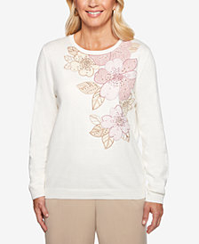 Alfred Dunner Home For The Holidays Floral-Appliqué Sweater