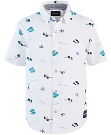 Calvin Klein Big Boys Printed Stretch Shirt