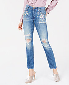 7 For All Mankind Ripped Embellished Skinny Jeans
