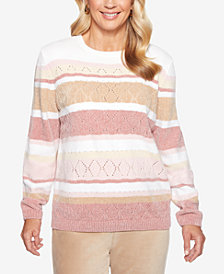 Alfred Dunner Home For The Holidays Striped Chenille Sweater