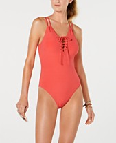 beaa200889f Hula Honey Juniors' Shimmer Rib Lace-up One-Piece Swimsuit, Created for. 2  colors