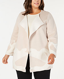 Alfani Plus Size Abstract-Pattern Double-Knit Sweater Coat, Created for Macy's