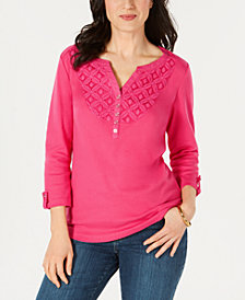 Karen Scott Lace-Trim 3/4-Sleeve Cotton Henley Top, Created for Macy's