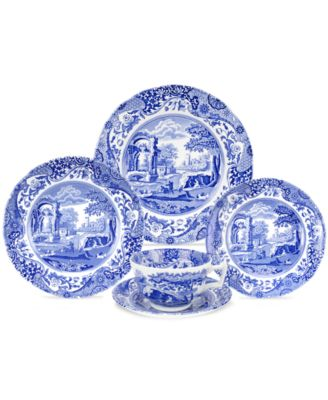 First introduced in 1816 Spodeu0027s Blue Italian dinnerware and dishes collection has graced countless tabletops with its quaint country scene and traditional ...  sc 1 st  Macyu0027s & Spode Dinnerware Blue Italian Collection - Dinnerware - Dining ...