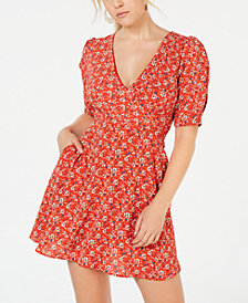 Speechless Juniors' Printed Puff-Sleeve Dress
