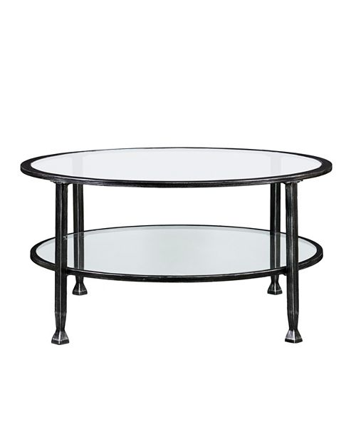 Southern Enterprises Brookford Metal and Glass Round Cocktail Table