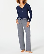 25baa3e52d1 Charter Club Ribbed Hacci-Knit Top   Printed Knit Pajama Pants Sleep  Separates