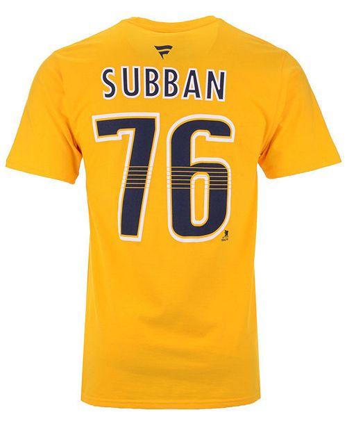 newest 71b97 e55dd Men's PK Subban Nashville Predators Authentic Stack Name & Number T-Shirt