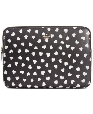 Heartbeat Faux Leather Universal Laptop Sleeve - Black in Black/Cream