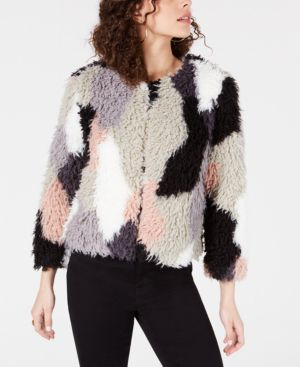 1.STATE Patchwork Curly Faux-Fur Cropped Coat in French Pink