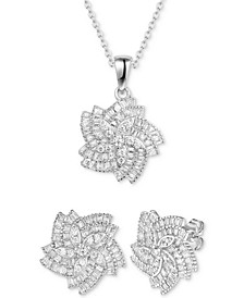 2-Pc. Set Cubic Zirconia Flower Pendant Necklace & Matching Stud Earrings in Sterling Silver