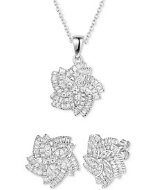 Tiara 2-Pc. Set Cubic Zirconia Flower Pendant Necklace & Matching Stud Earrings in Sterling Silver