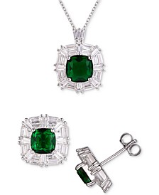 3-Pc. Set Cubic Zirconia Pendant Necklace & Matching Stud Earrings in Sterling Silver