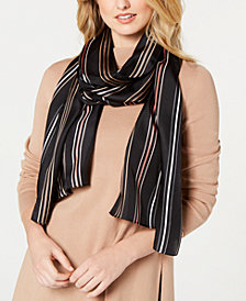 Echo Pinstriped Silk Oblong Scarf