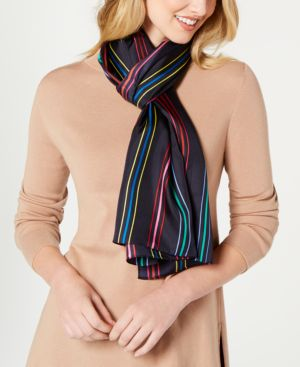 Image of Echo Pinstriped Silk Oblong Scarf