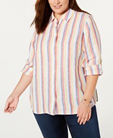 Charter Club Plus Size Striped Linen Shirt, Created for Macy's