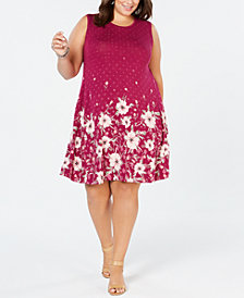 Style & Co Plus Size Floral-Print Sleeveless Dress, Created for Macy's