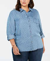 2dfd9367 Style & Co Plus Size Heart-Print Roll-Tab Shirt, Created for Macy's