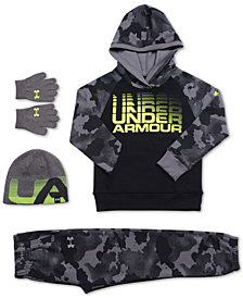 Under Armour Little Boys Traverse Camo Hoodie,  Camo-Print Jogger Pants & 2-Pc. Beanie Hat & Gloves Set