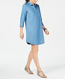 Cotton 3/4 Sleeve Chambray Shirtdress, Created for Macy's