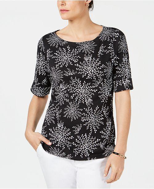 Karen Scott Petite Printed Elbow-Sleeve Top, Created for Macy's