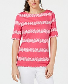 Floral-Striped Boat-Neck Top, Created for Macy's