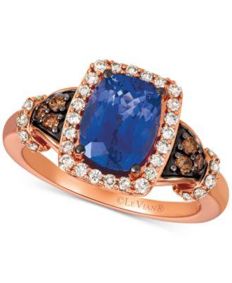 Blueberry Tanzanite® (2 ct. t.w.), Nude Diamonds™ (1/3 ct. t.w.) & Chocolate Diamonds® (1/8 ct. t.w.) Ring Set in 14k Rose Gold