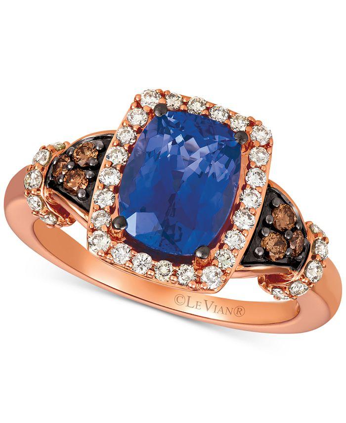 Le Vian - Blueberry Tanzanite® (2 ct. t.w.), Nude Diamonds™ (1/3 ct. t.w.) & Chocolate Diamonds® (1/8 ct. t.w.) Ring Set in 14k Strawberry Gold®