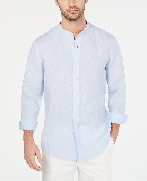 Tasso Elba Men's Banded Collar Linen Shirt, Created for Macy's