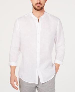 1930s Men's Fashion Guide- What Did Men Wear? Tasso Elba Mens Banded Collar Linen Shirt Created for Macys $40.99 AT vintagedancer.com