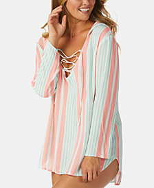 Raisins Coco Stripe Printed Lace-Up Hoodie Cover-Up