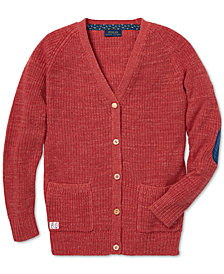 Polo Ralph Lauren Big Girls Elbow-Patch Cotton Boyfriend Cardigan
