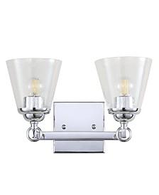 JONATHAN Y Marion 2-Light Hurricane Metal, Glass Vanity Light