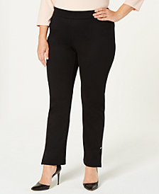 JM Collection Plus Size Pull-On Slim Ponte Pants, Created for Macy's
