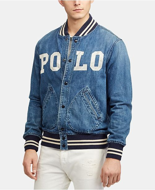 42d86196f11 Polo Ralph Lauren Men s Varsity-Inspired Denim Jacket   Reviews ...