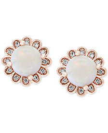 EFFY Opal (1-1/10 ct. t.w.) & Diamond (1/10 ct. t.w.) Studs in 14k Rose Gold