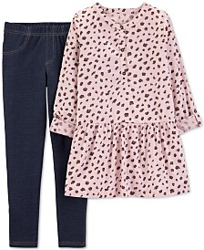 Carter's Little Girls 2-Pc. Animal-Print Top & Leggings Set