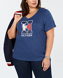 Tommy Hilfiger Plus Size Logo V-Neck T-Shirt