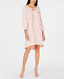 NY Collection Petite Statement-Sleeve Dress & Necklace
